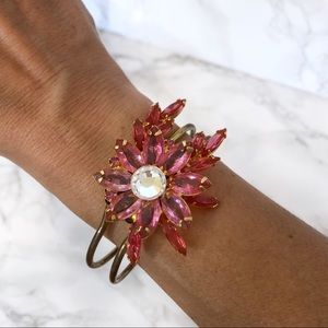 Floral Cuff Hinged Bracelet